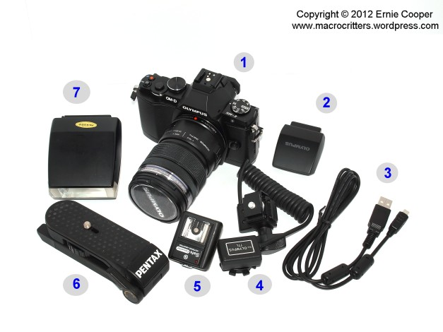 """My """"travelling light"""" camera gear: (1): Olympus OM-D E-M5 Mirrorless Micro Four Thirds Digital Camera with Zuiko 12-50mm ƒ/3.5-6.3 zoom lens; (2): FL-LM2 accessory flash; (3): USB Cable; (4): hot shoe flash cable; (5): High Voltage protection Hot Shoe PC Adapter; (6): Pentax pocket/table tripod; (7): vintage Olympus T-20 flash"""