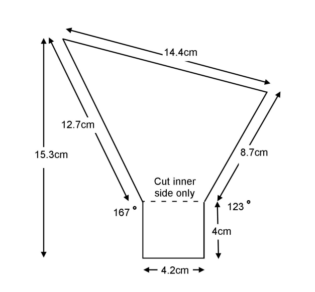 Diagram and dimensions of the side pieces of the flash diffuser. Both pieces were cut along the lower dotten line but only on the inner surface and not all the way through