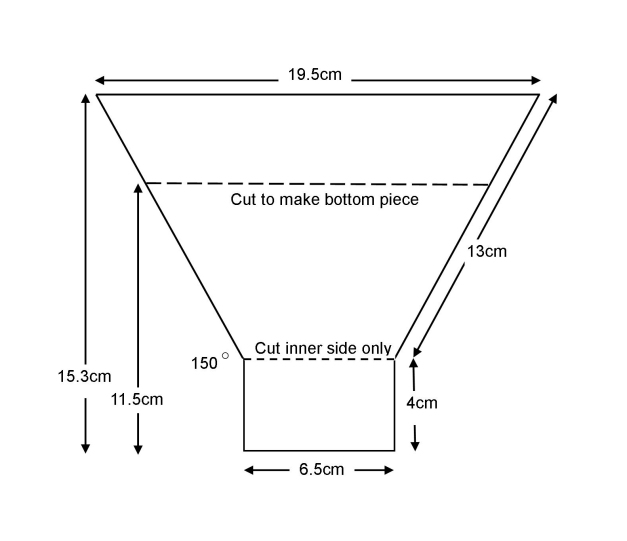 Diagram and dimensions of the top and bottom pieces of the flash diffuser: the two pieces were identical except that the bottom was cut short along the upper dotted line. Both pieces were cut along the lower dotten line but only on the inner surface and not all the way through