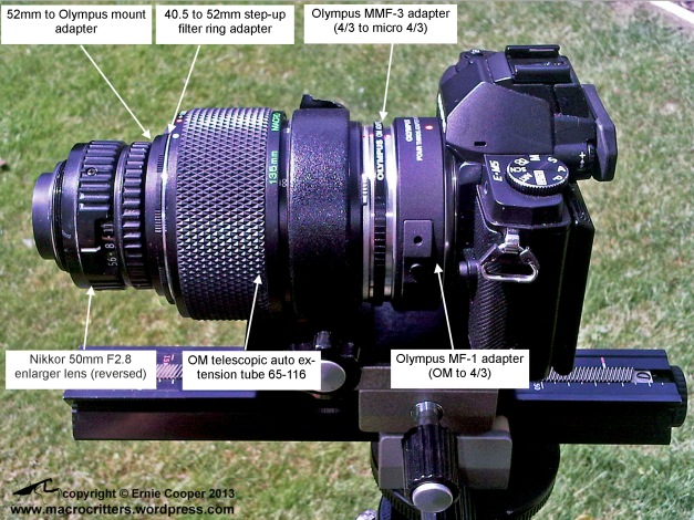 Nikkor 50mm F2.8 enlarger lens reversed and mounted on an Olympus telescopic auto extension tube 65-116 with all pieces labeled